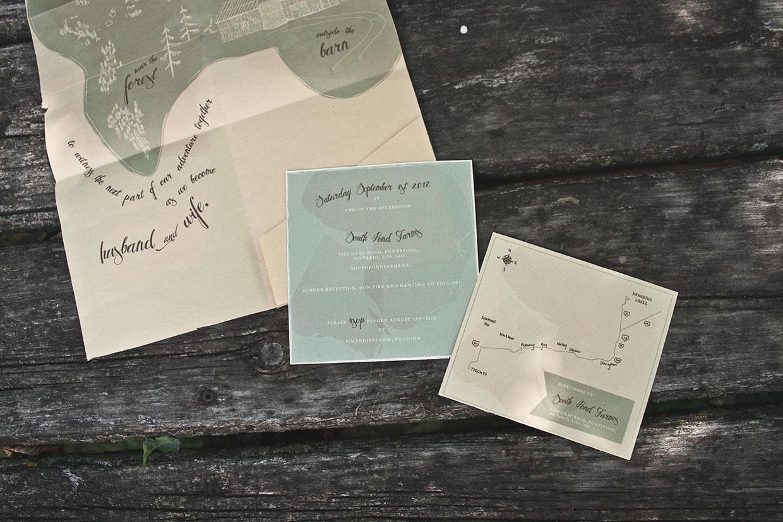 Convite de Casamento Mapa Natureza pormenor