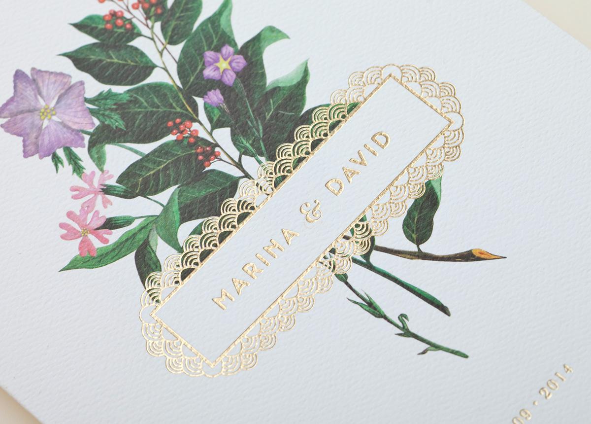 Convite de Casamento Floral Dourado chancela
