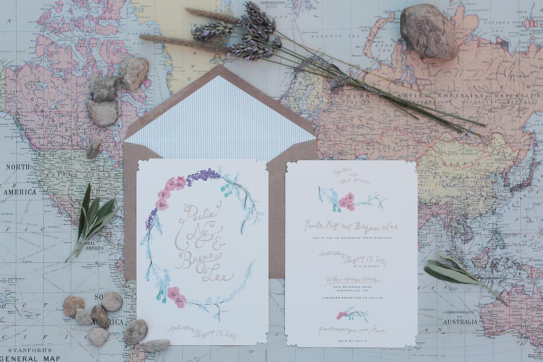 convite de casamento floral aguarela: envelope e convite.