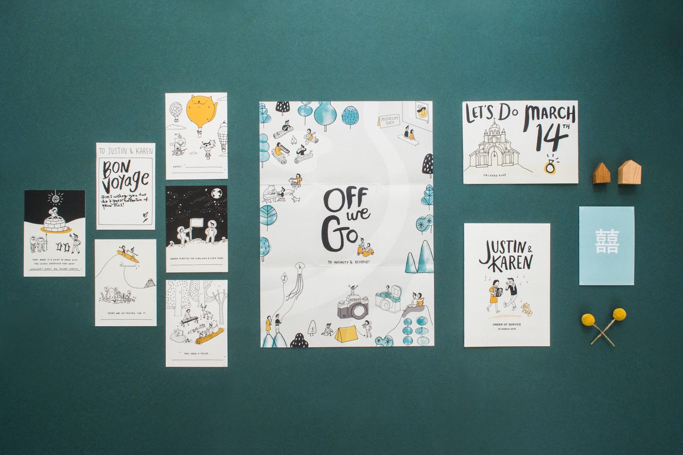 convite casamento poster ilustrado geral