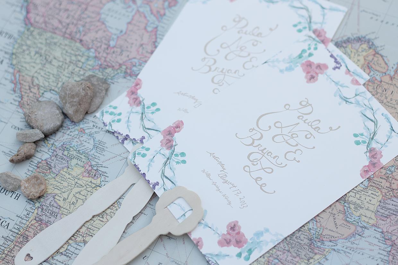 convite de casamento floral aguarela: plano próximo