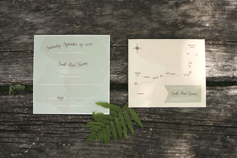 Convite de Casamento Mapa Natureza aberto