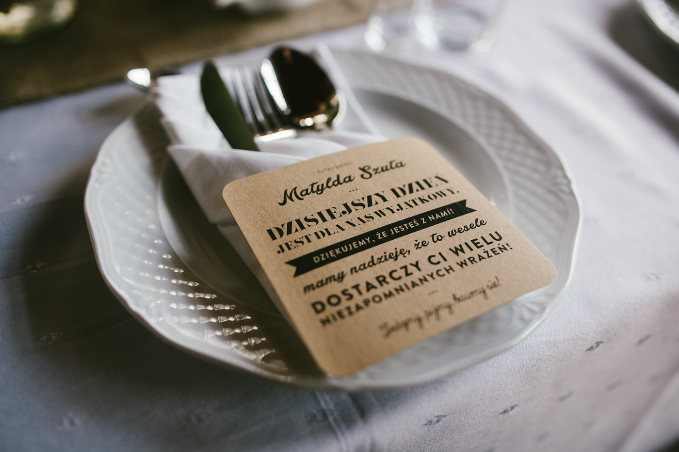 Convite de Casamento Craft marcador de mesa