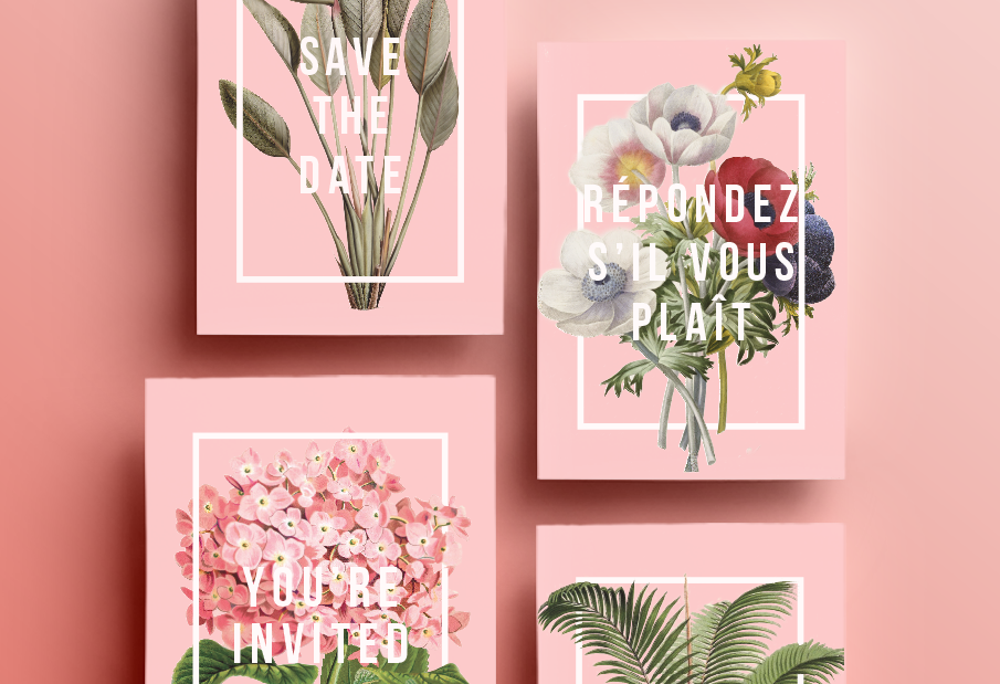 Convite de Casamento botânico: vista geral