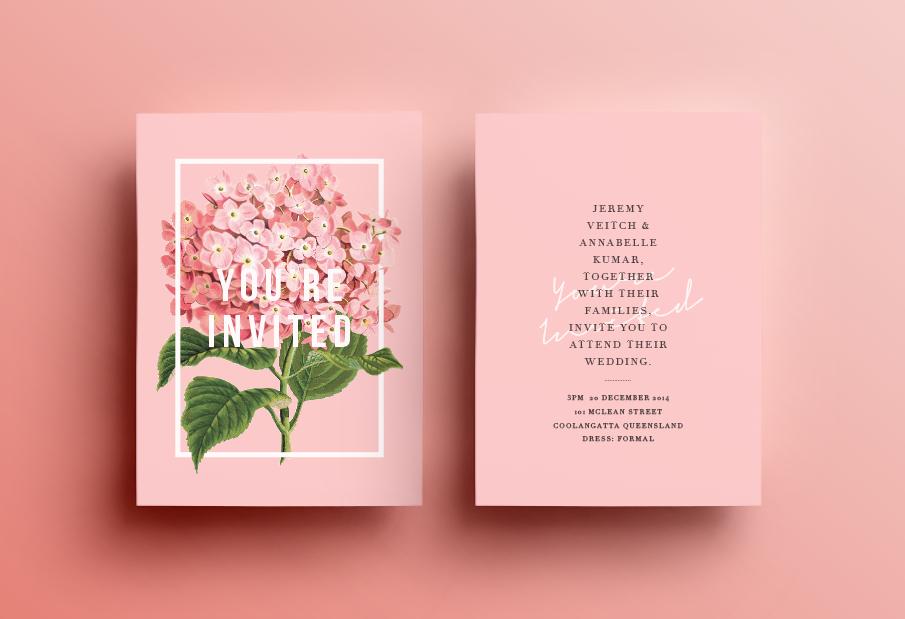 Convite de Casamento botânico: convite família.