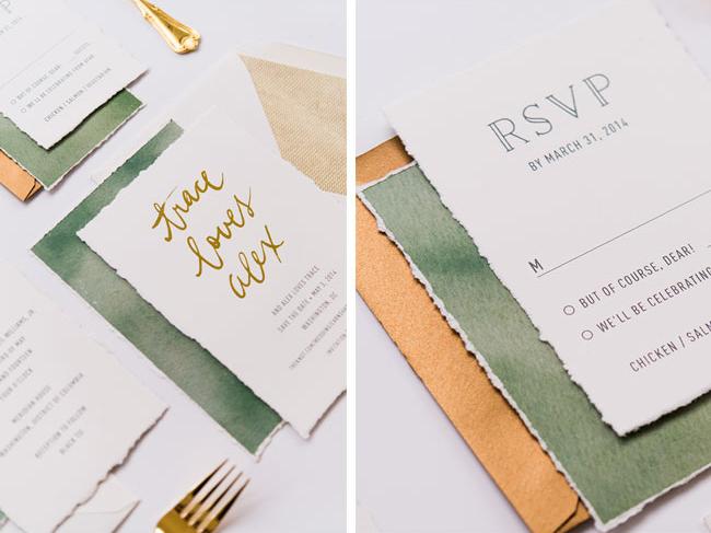 Convite de casamento tipo de letra dourado - pormenores