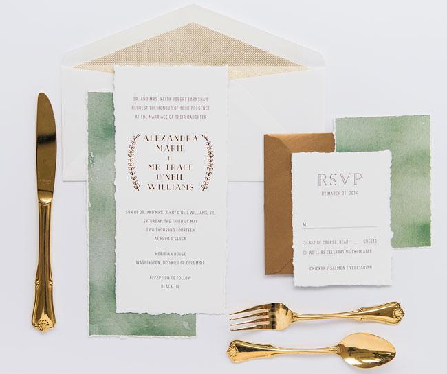Convite de casamento tipo de letra dourado - mood