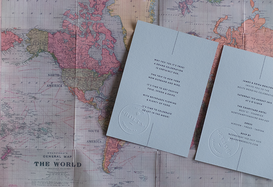 convite casamento mapa mundo: desdobrado