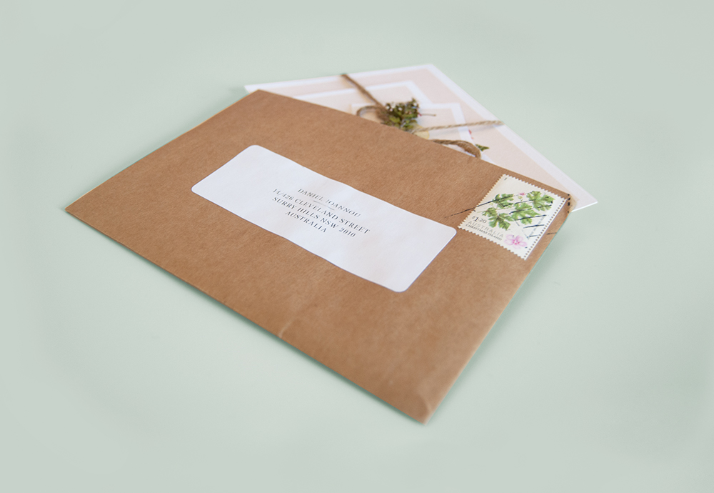 Convite de Casamento botanico envelope
