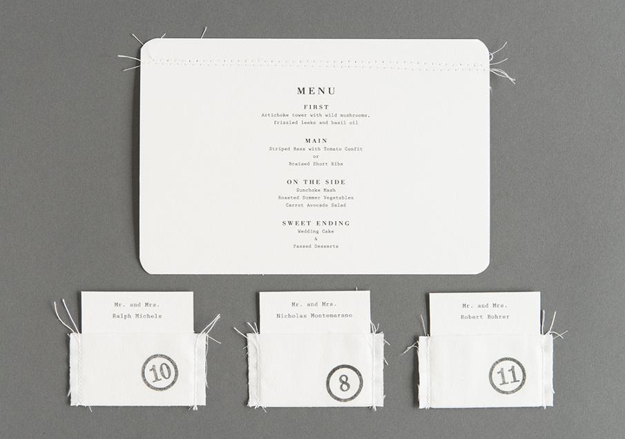 Convite de casamento papel e tecido - marcadores e menu.