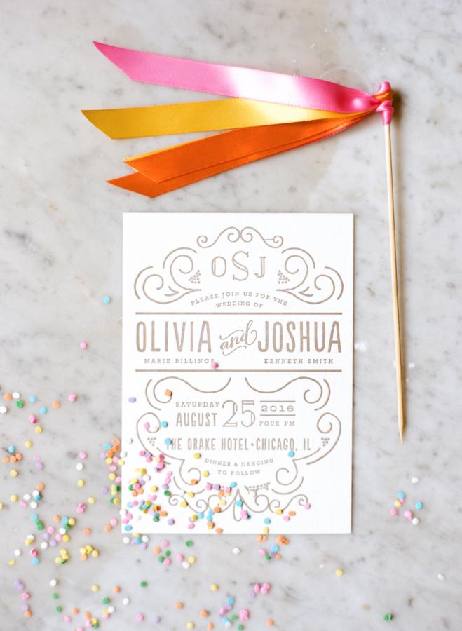 convite de casamento confettis frente