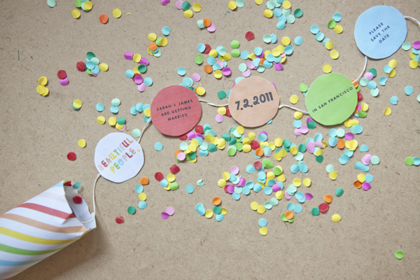 convite de casamento confettis