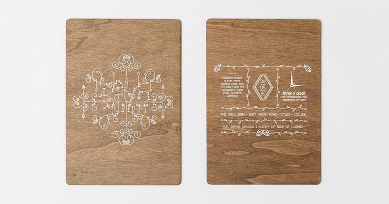 Convite de casamento madeira e descoberta