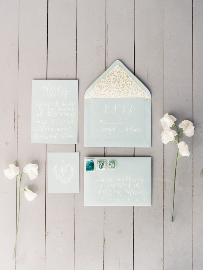 Convite de casamento manuscrito elegante