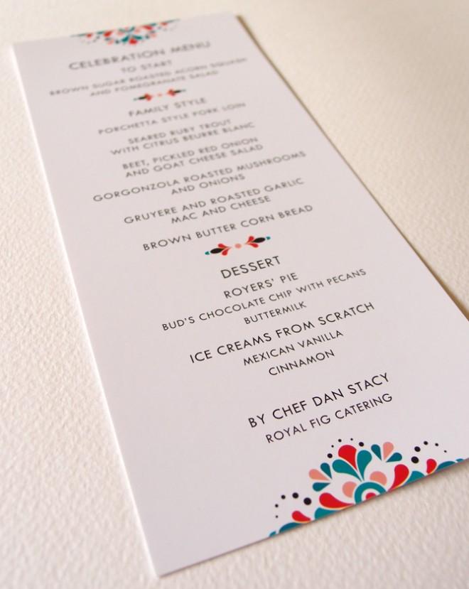 Convite de casamento mexicano menu