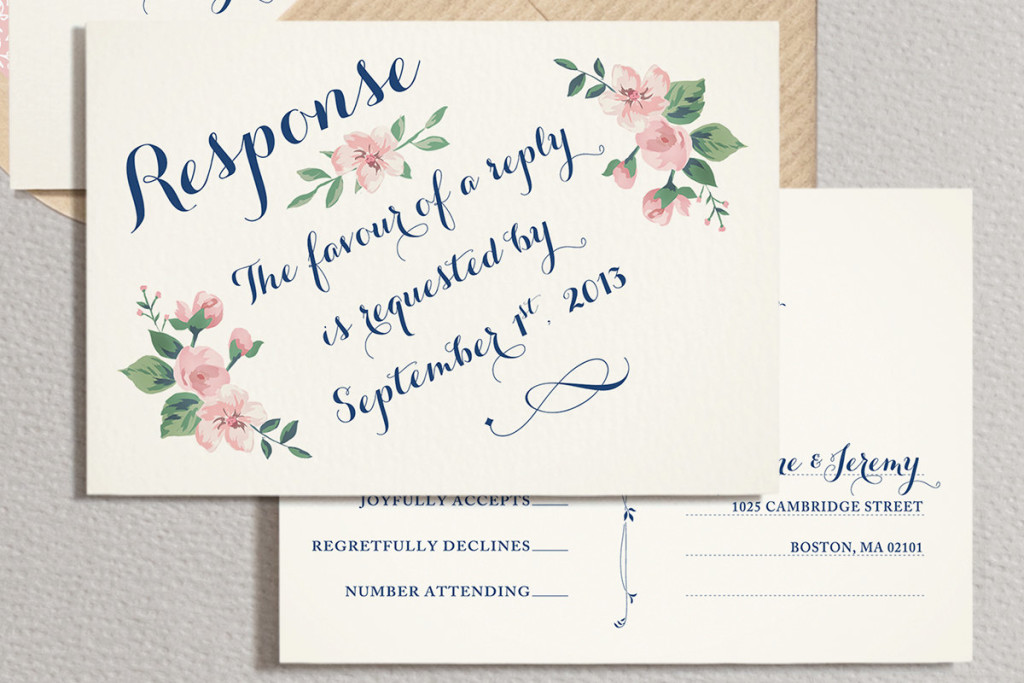 Convite de casamento ramo de rosas rsvp