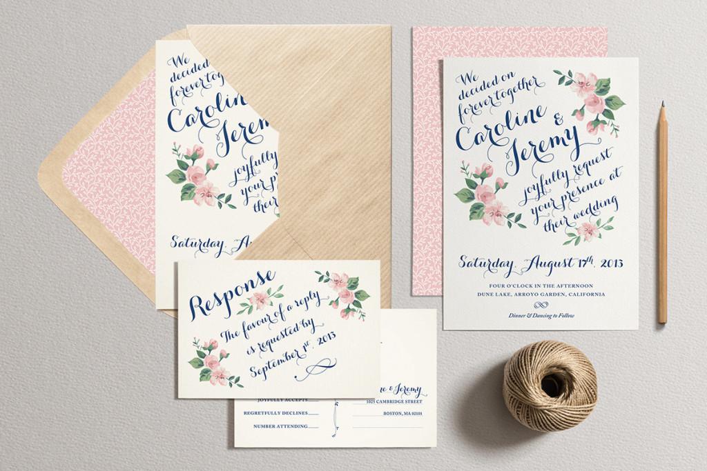 Convite de casamento ramo de rosas e cartao