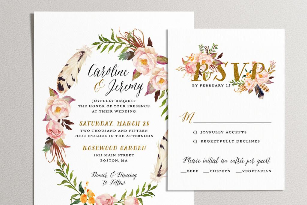 convite de casamento vintage floral rsvp