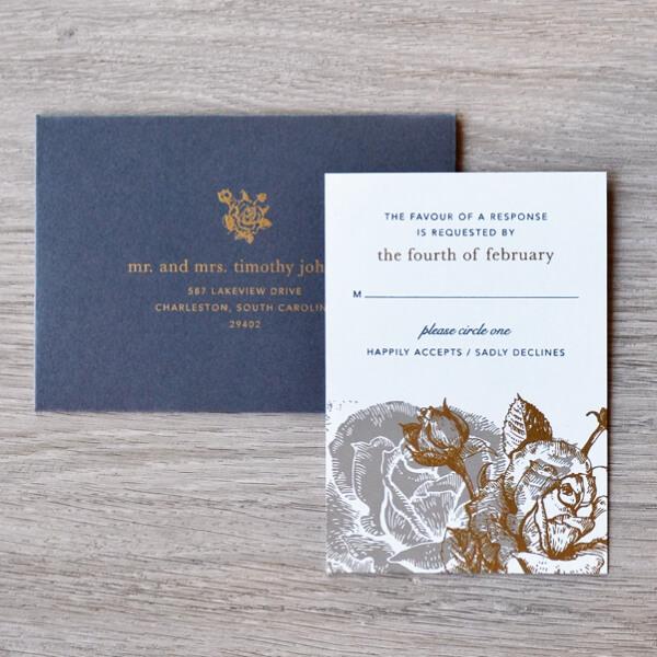 convite de casamento com cinta e dourados - RSVP