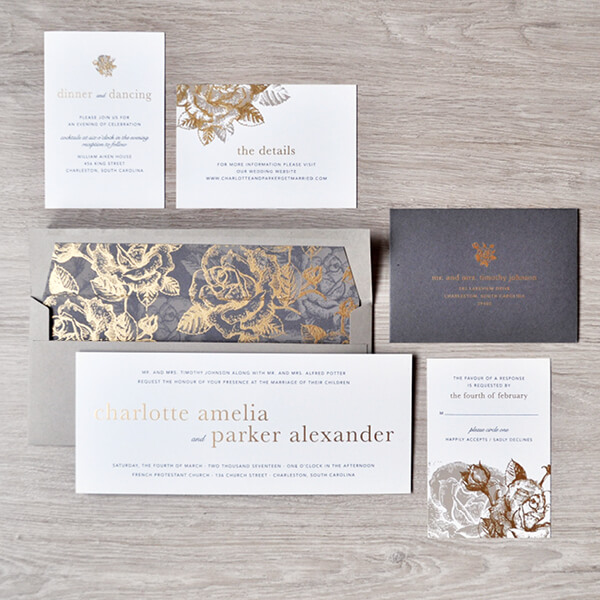 convite de casamento com cinta e dourados - vista geral