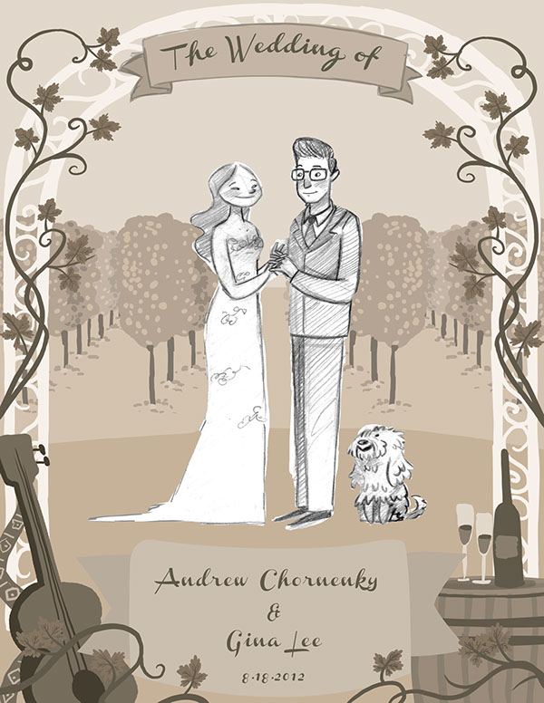 Convite de casamento ilustrado estudo
