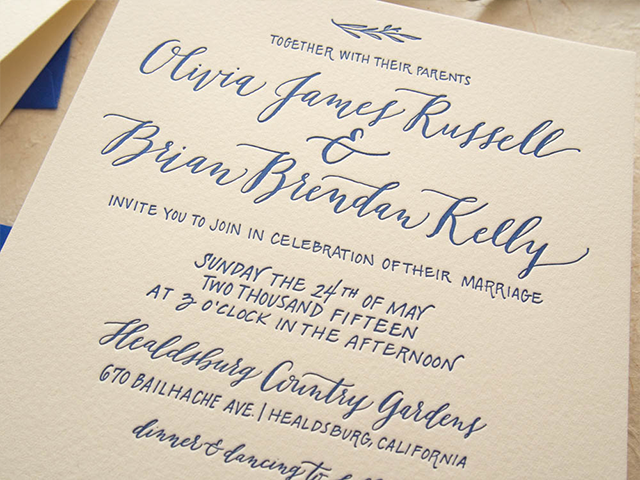 Convite de casamento caligrafia - pormenor