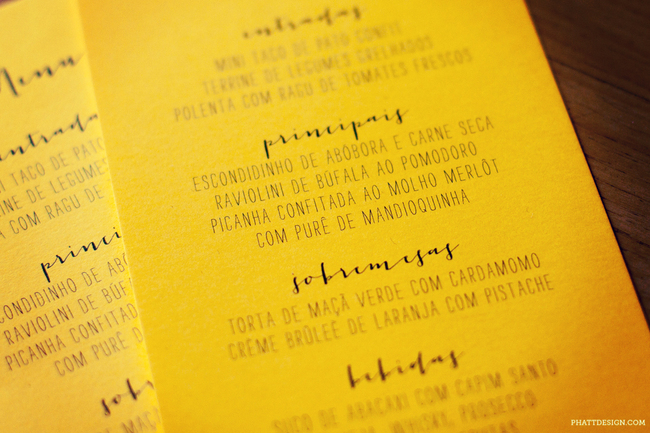convite de casamento colorido - menu