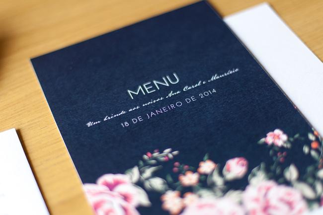 convite de casamento floral premium - menu