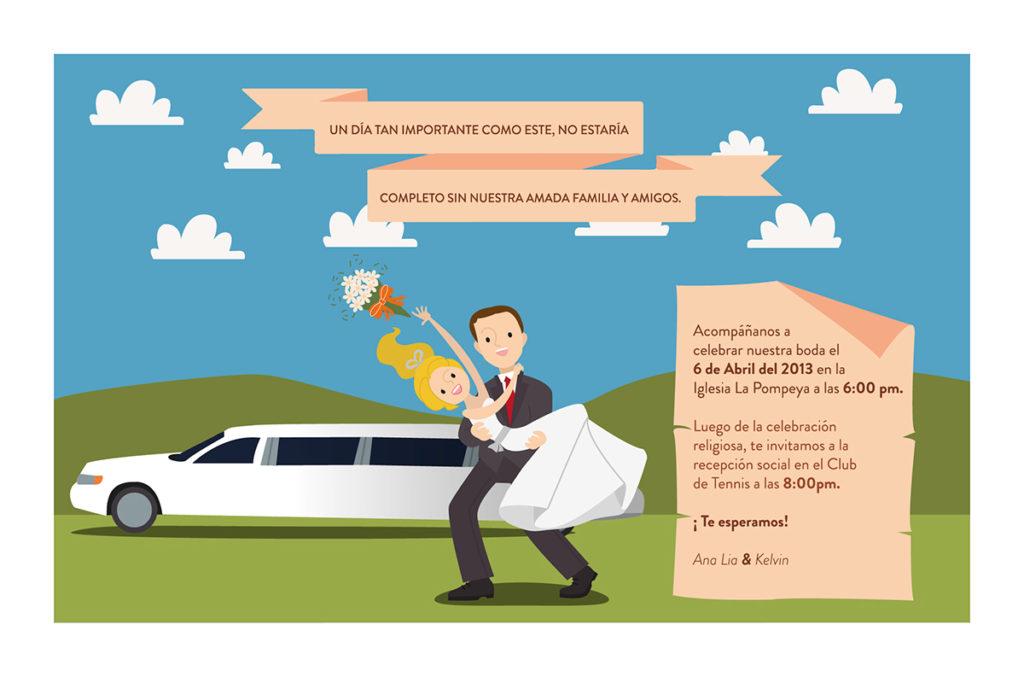 convite de casamento ilustrado verso