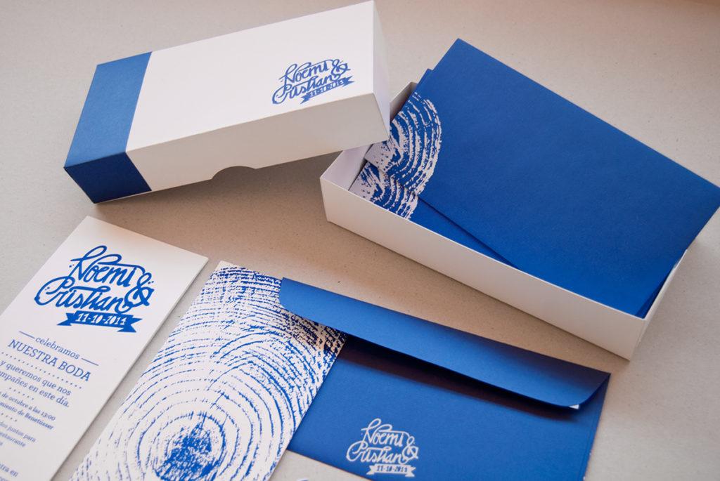 convite de casamento azul - caixa