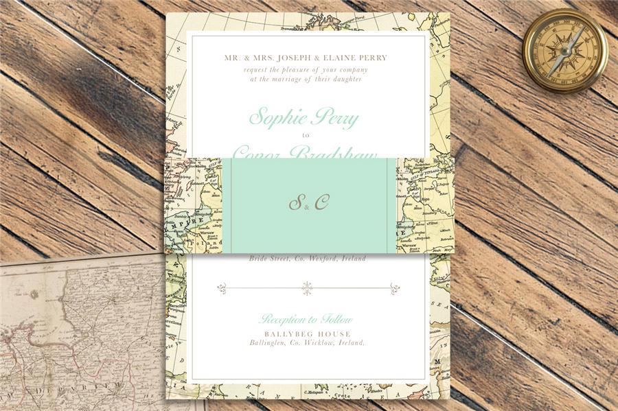 convite de casamento mapa vintage com cinta