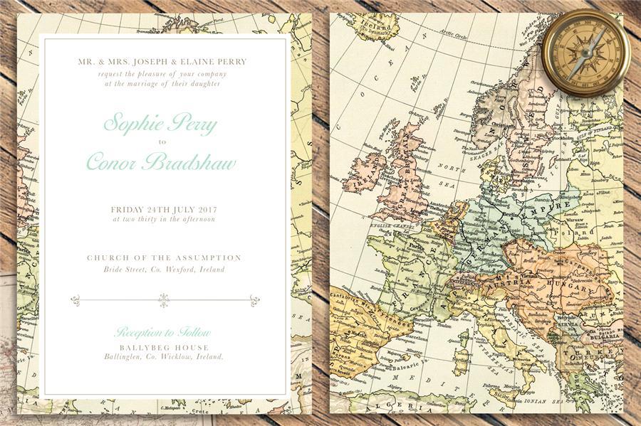 convite de casamento mapa vintage-frente e verso
