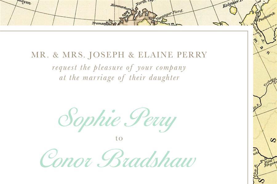 convite de casamento mapa vintage-pormenor