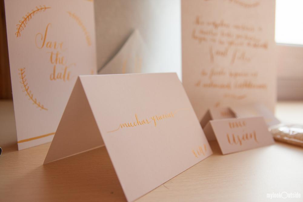 convite de casamento ouro - pormenor