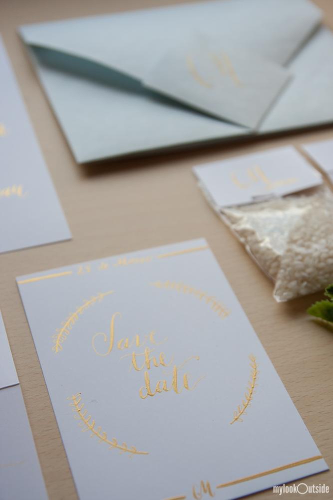 convite de casamento ouro - save the date