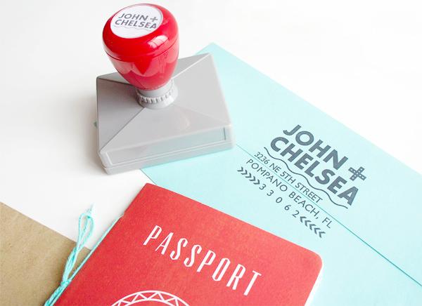 Convite de casamento passaporte carimbo