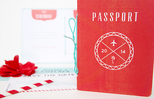 Convite de casamento passaporte exterior