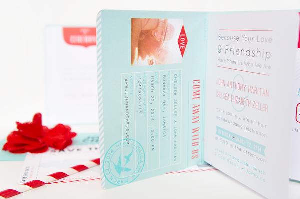 Convite de casamento passaporte interior