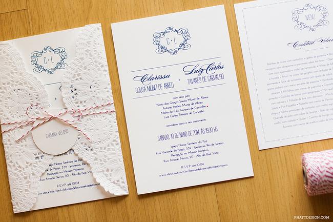 convite de casamento renda de papel