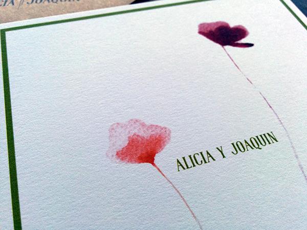 convite de casamento flores - pormenor