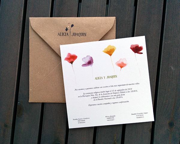convite de casamento flores - verso