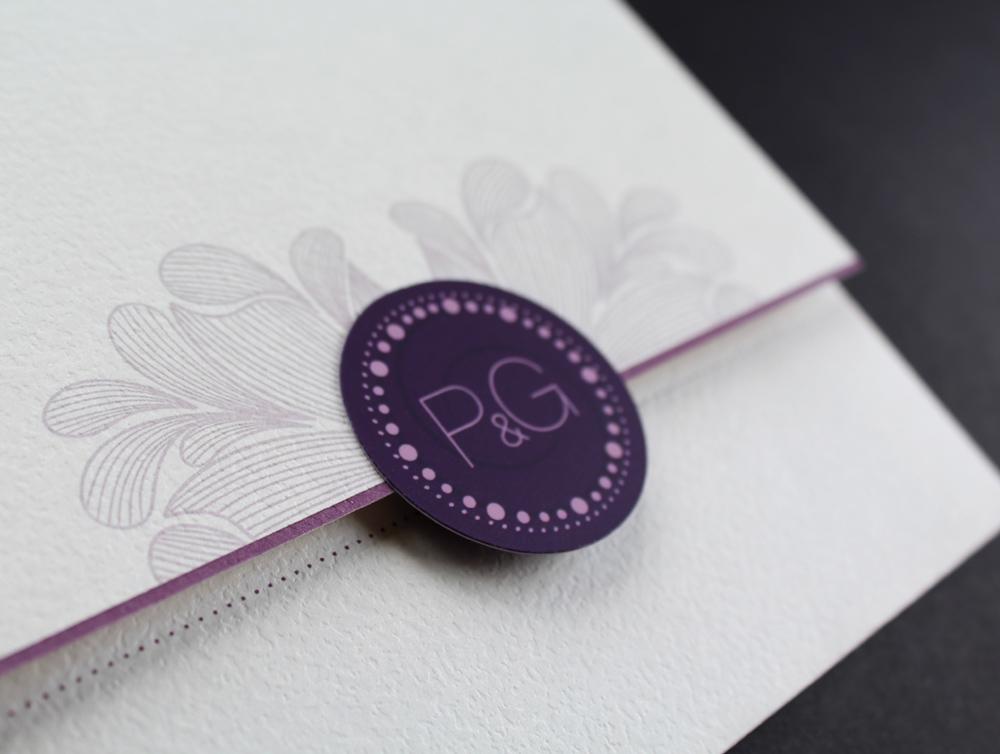 convite de casamento monograma - pormenor